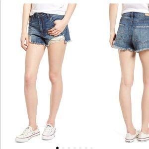 BP High Waste Frayed Hem Denim Shorts